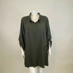 City Chic Button Front Hi Lo Gathered Blouse 24